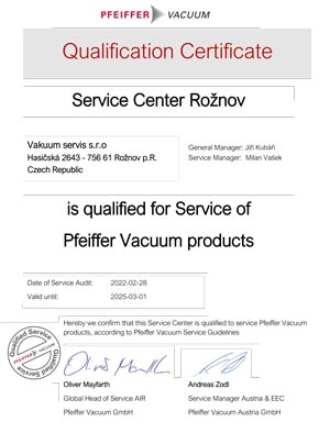 Pfeiffer vacuum service center certificate